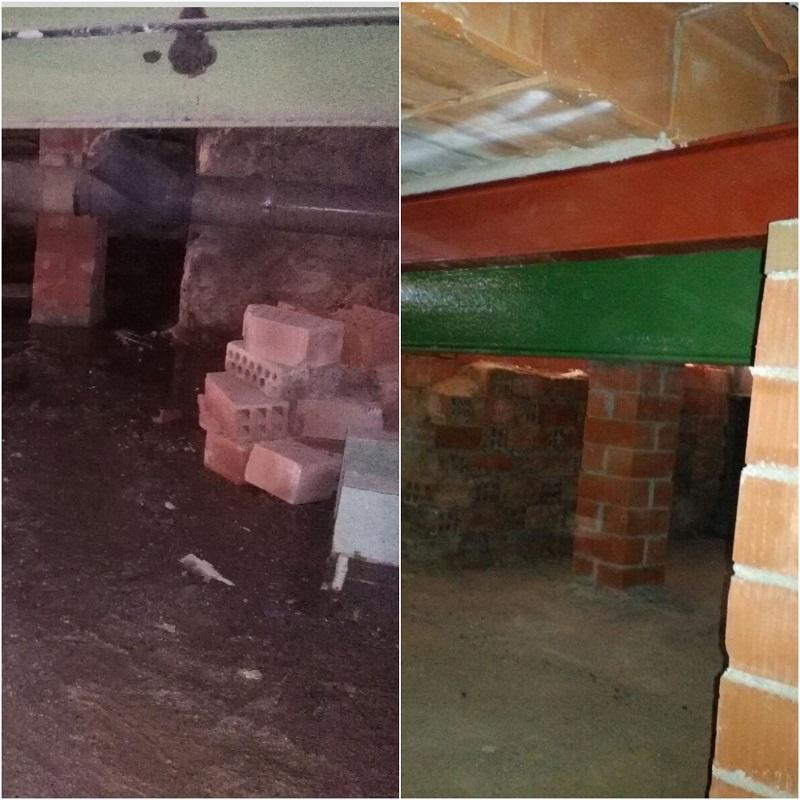 Las obras de rehabilitación en Alicante de Grupo BDI también han trabajado con la reparación y el saneado de viguetas de hormigón